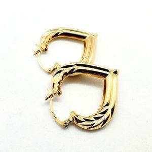 14k Yellow Gold Heart Laurel Hoop Earrings 2.6g